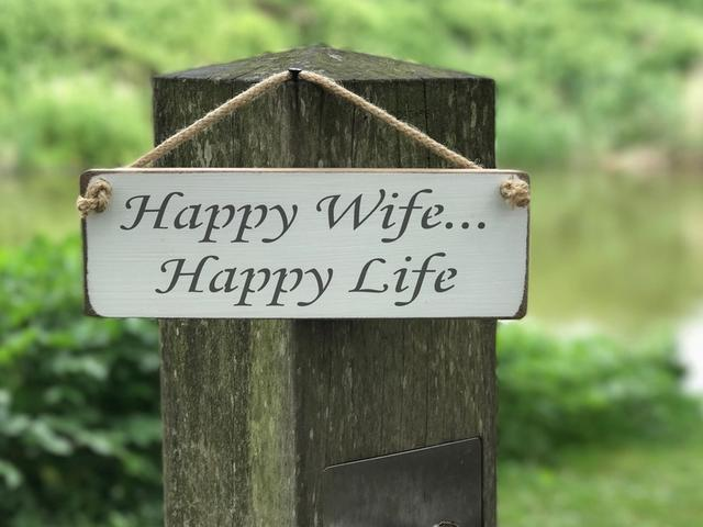 Happy Wife, Happy Life Wooden Sign
