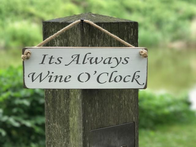 It's Always Wine O'clock Wooden Sign