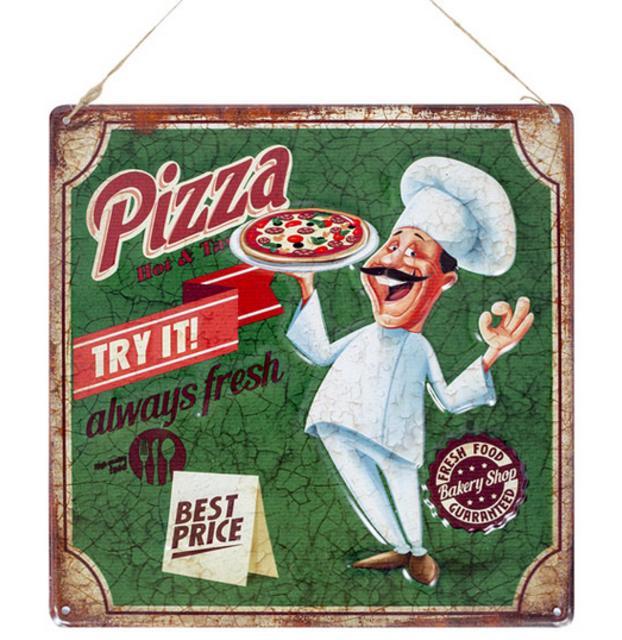 La Hacienda Pizza Embossed Steel Sign