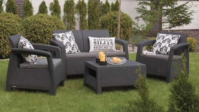 Corfu 2 Seater Sofa Set Graphite
