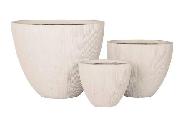 Set of 3 Light Grey Plant Pots