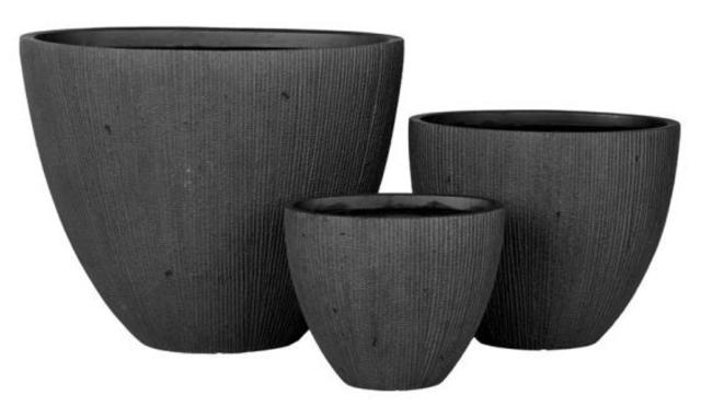 Set of 3 Dark Grey Plant Pots
