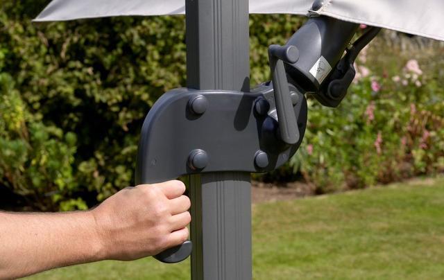 Truro 3x3m Square Side Post LED Parasols Grey