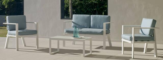 Azores White Aluminium 2 Seater Sofa Set