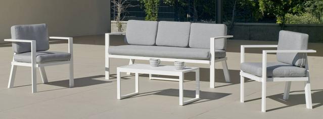 Azores White Aluminium 3 Seater Sofa Set