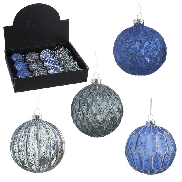 12 Blue and Silver Baubles