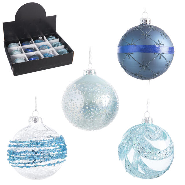 12 Blue Glass Baubles