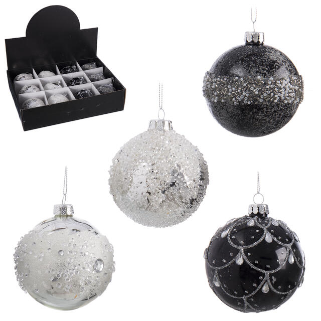 12 Black and Silver Glass Baubles