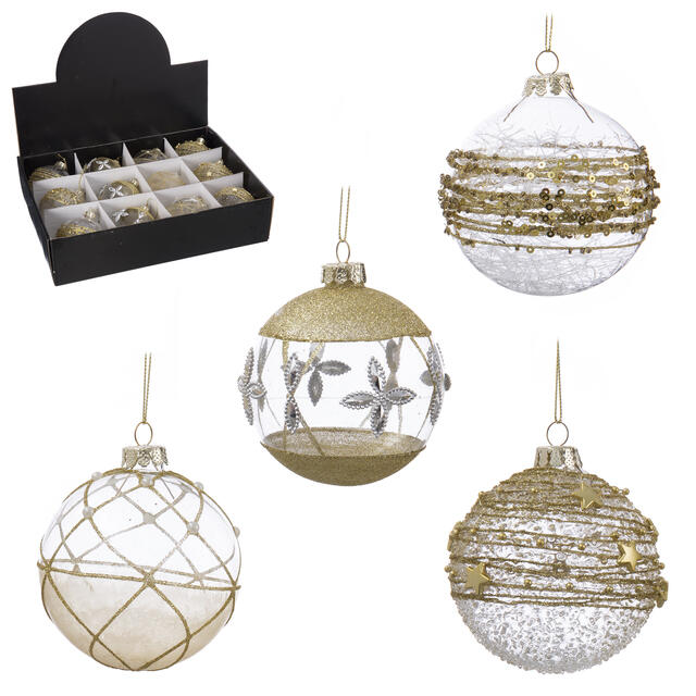 12 Gold and Clear Glass Baubles