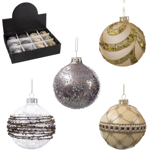 12 Gold and Silver Glass Baubles