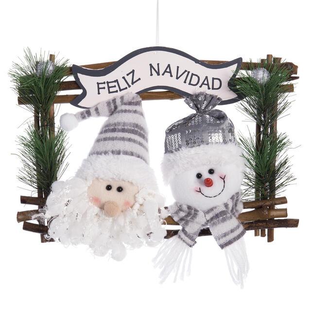 Hanging Feliz Navidad Santa and Snowman