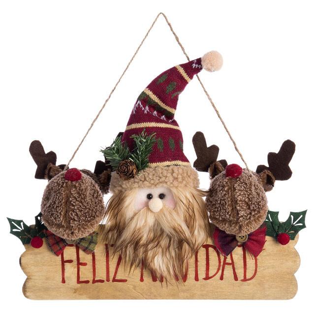 Hanging Feliz Navidad Santa and Reindeer
