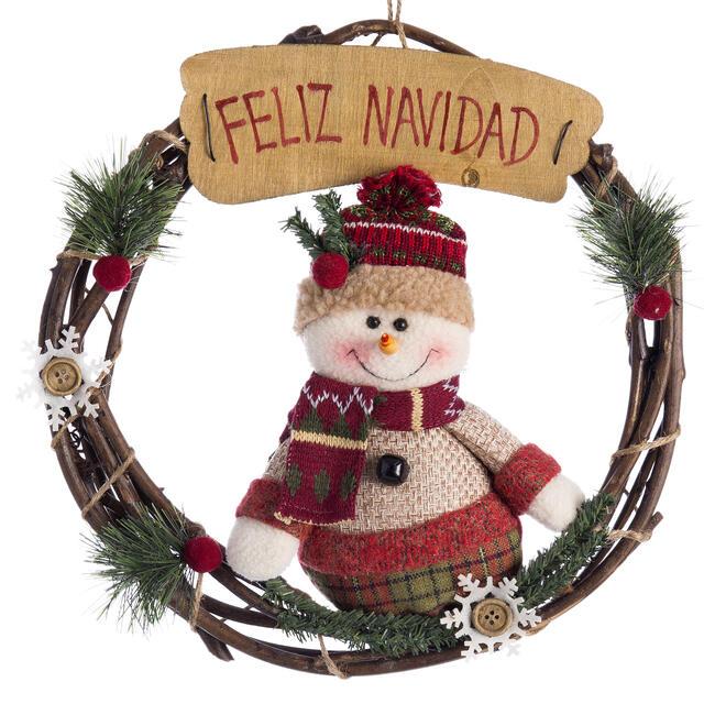 Feliz Navidad Snowman Wooden Wreath