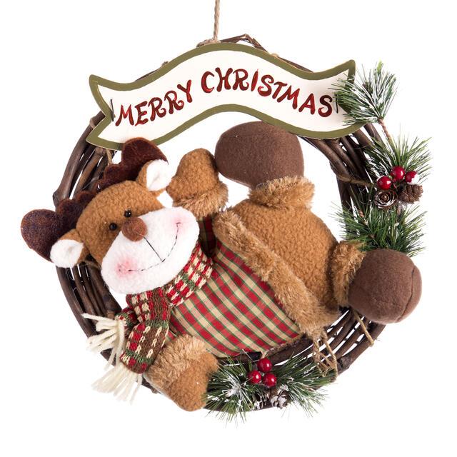 Merry Christmas Reindeer Wooden Wreath