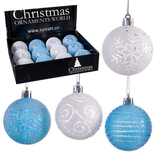 12 Blue and White Frosted Baubles