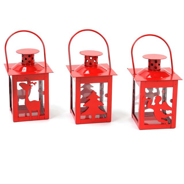 Red Metal Tea Light Lanterns