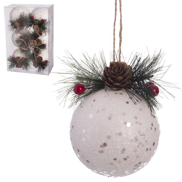 6 Polyfoam Snowball Baubles