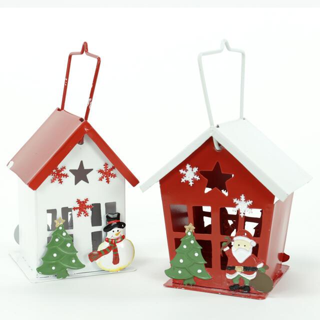 Metal Christmas Scene Tea Light Lanterns